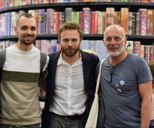 """I Librai Salvatore D'Alessio e Andrea Geloni con Paolo Giordano per """"Divorare il cielo"""""""